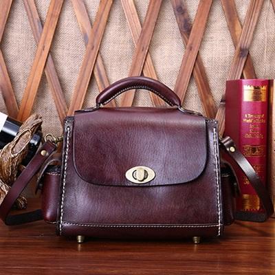 手提包真皮牛皮斜背包-歐美復古小巧休閒女包包2色73lp18【米蘭精品】