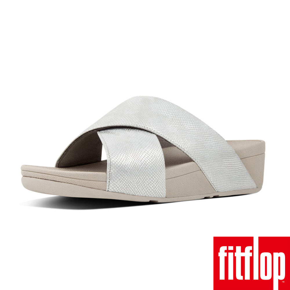 FitFlop - (女款)LULU CROSS SLIDE SANDALS SHIMMER-PRINT-銀色