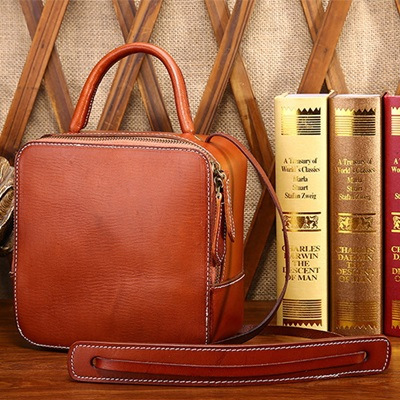 手提包真皮牛皮斜背包-小巧百搭休閒簡約女包包2色73lp23【米蘭精品】