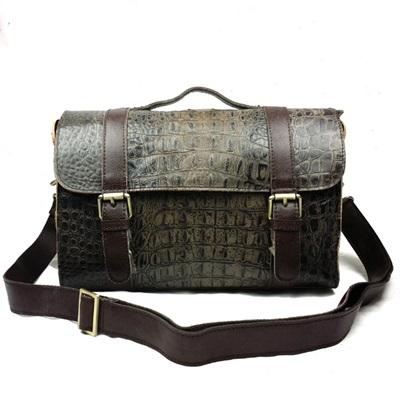 手提包真皮牛皮斜背包-成熟高貴鱷魚紋郵差女包包73lp35【米蘭精品】