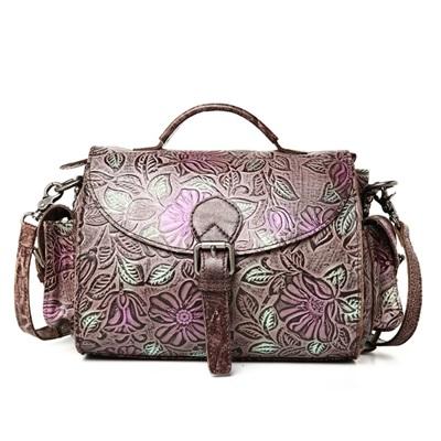 手提包真皮牛皮斜背包-復古壓花優雅氣質女包包2色73lp37【米蘭精品】