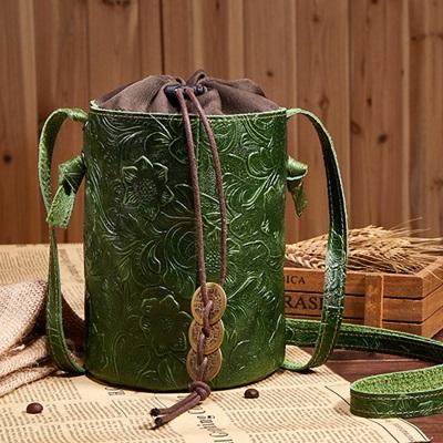 側背包真皮牛皮斜背包-復古民族風休閒水桶女包包4色73lp38【米蘭精品】