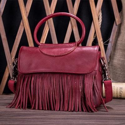 手提包真皮牛皮側背包-復古流蘇時尚優雅女包包2色73lp40【米蘭精品】