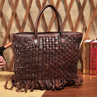手提包真皮牛皮肩背包-編織紋歐美時尚休閒女包包2色73lp41【米蘭精品】
