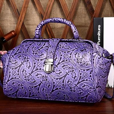 手提包真皮牛皮側背包-高雅氣質復古壓花女包包2色73lp43【米蘭精品】