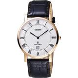 ORIENT東方 羅馬復刻腕錶-白x玫塊金框/38mm FGW0100EW