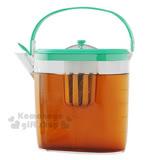 〔小禮堂〕Arnest 日製冷水壺附濾網《透明.綠蓋》1.3L.含提把