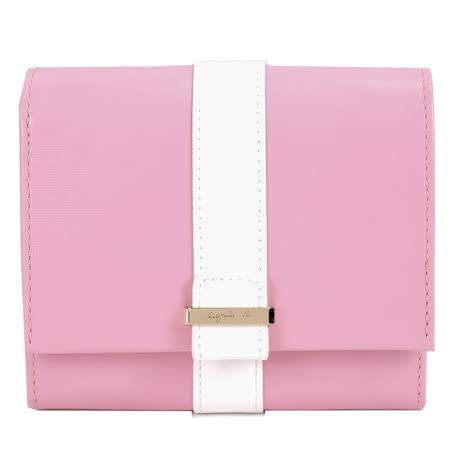 agnes b.皮革直紋飾帶翻蓋短夾-粉紅