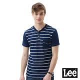 Lee 條紋鈕扣短袖T恤/101+-男款-藍
