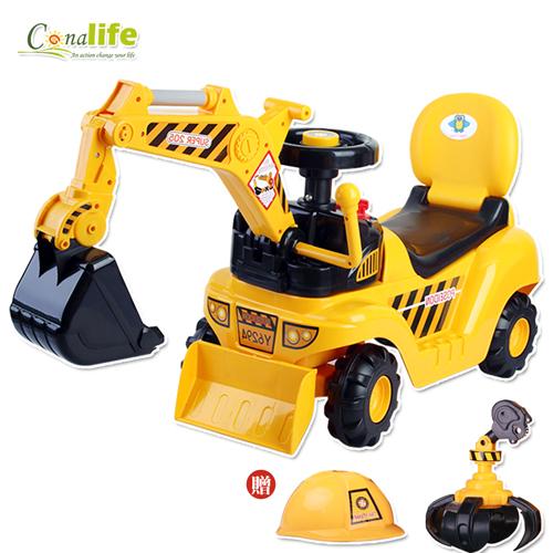 [Conalife] 兒童二用挖土機造型學步車(含安全帽)