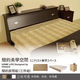 【ABOSS】麗雅6尺胡桃雙人加大臥室三件式床組/房間組(床頭箱+床底+床頭櫃)