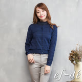 【ef-de】激安 層次鏤空排釦針織罩衫外套(黑夜藍)