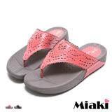 【Miaki】MIT 夾腳拖韓亮麗水鑽鉚釘T字厚底涼鞋 (深粉色/ 黑色)