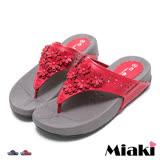 【Miaki】MIT 夾腳拖典雅花朵厚底涼鞋 (紅色/ 藍色)