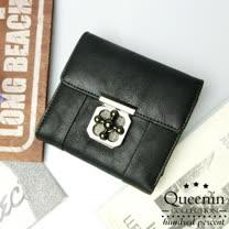 DF Queenin皮夾 - 韓版美美仿皮款零錢包可拆式短夾-共3色