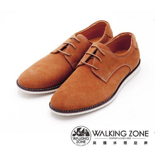 WALKING ZONE 素色英倫綁帶休閒鞋 男鞋-棕
