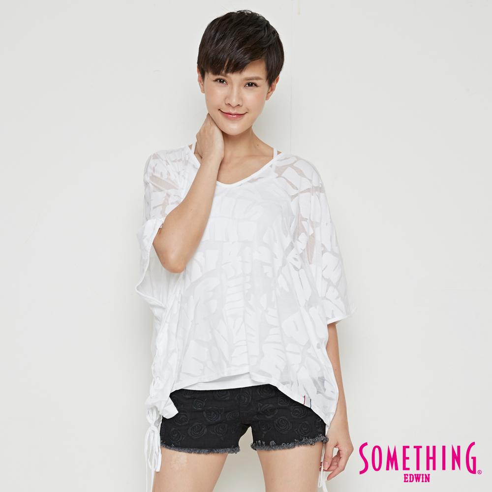 SOMETHING 網路限定 葉脈燒花寬版短袖T恤-女-白色