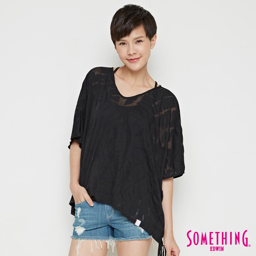 SOMETHING 網路限定 葉脈燒花寬版短袖T恤-女-黑色