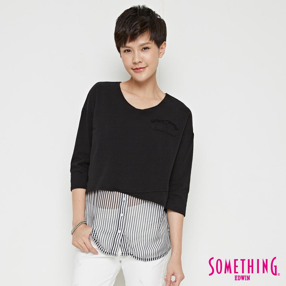 SOMETHING 網路限定 直條紋七分袖T恤-女-黑色