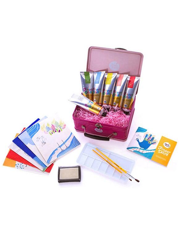 手指畫小禮盒(粉紅色鐵盒裝-6色)