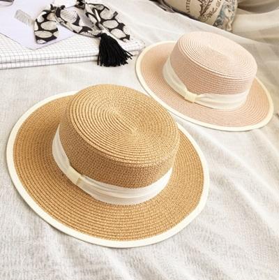 遮陽草帽綁帶沙灘帽-英倫風海邊渡假時尚七夕情人節禮物女帽子7色73eq55【米蘭精品】