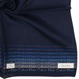 Calvin Klein 簡約漸層條紋LOGO純棉帕巾-深藍色