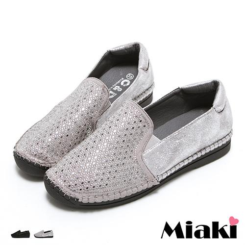 【Miaki】MIT 懶人鞋韓個性水鑽百搭厚底休閒包鞋 (灰色 / 黑色)
