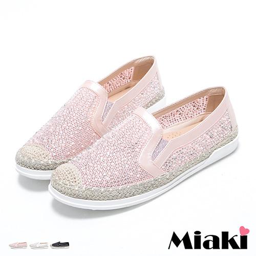 【Miaki】懶人鞋韓夏日麻編水鑽拼接厚底休閒包鞋 (白色 / 粉色 / 黑色)