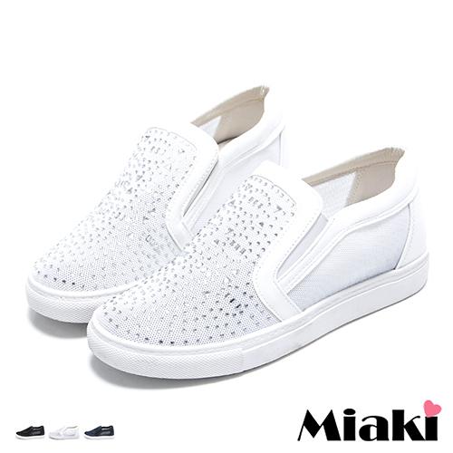 【Miaki】內增高鞋韓時尚透氣水鑽厚底懶人休閒包鞋 (白色 / 藍色 / 黑色)