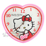 〔小禮堂〕Hello Kitty 心型掛鐘《粉.側坐.摸臉.盒裝》連續掃描機芯
