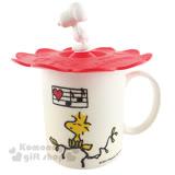 〔小禮堂〕史努比 陶瓷馬克杯《白.大臉.音符》附造型杯蓋