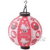 〔小禮堂〕Hello Kitty 圓型紙燈籠《紅白.多動作》LED仿真燈效