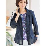 日本預購-portcros高雅印花上衣夾克外套組(共二色/M-3L)