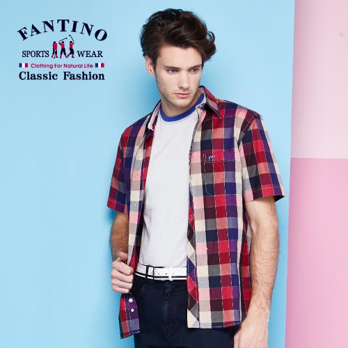 【FANTINO】男裝  經典格紋休閒襯衫  (紅) 534312