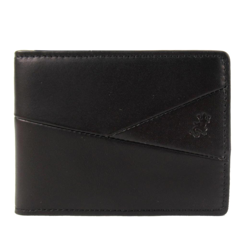 agnes b.蜥蜴皮革車線切紋ID車票夾(黑)