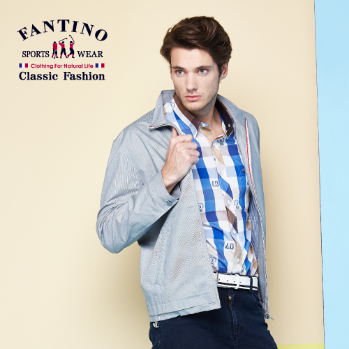 【FANTINO】男裝 萊卡透氣舒適外套 (淺灰.深灰) 535307-535308