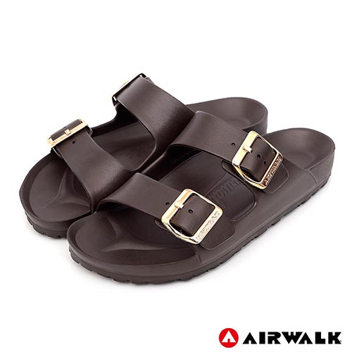 AIRWALK - 低調奢華金屬質感扣AB拖-咖啡色