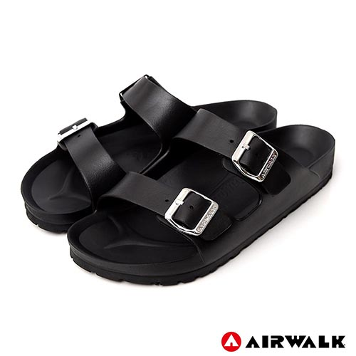 AIRWALK - 低調奢華金屬質感扣AB拖-黑色