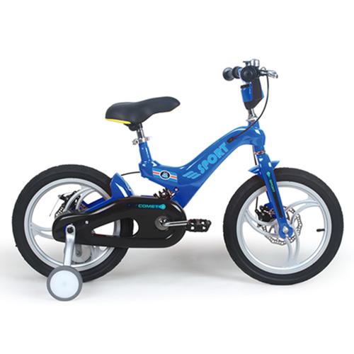 寶貝樂嚴選 16吋超輕量鎂合金前後碟煞避震腳踏車(打氣胎)-藍
