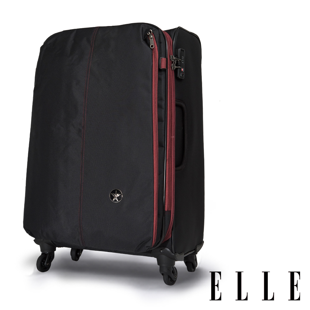 ELLE Neptune經典70周年-25吋商務防盜/超輕大容量購物旅行箱-黑色 EL32057