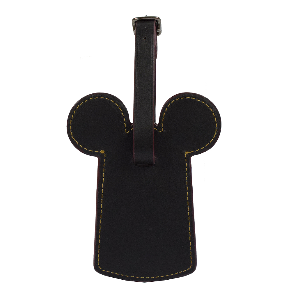 COACH限量米奇造型皮革行李名牌吊飾.黑