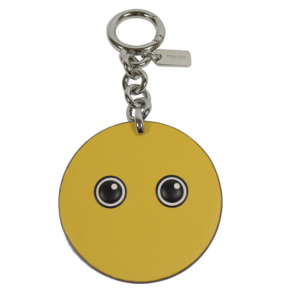COACH  可愛圖案造型皮革鑰匙圈.黃