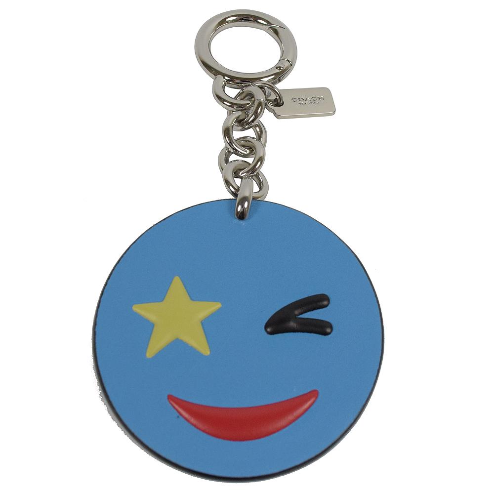 COACH 可愛圖案造型皮革鑰匙圈.藍