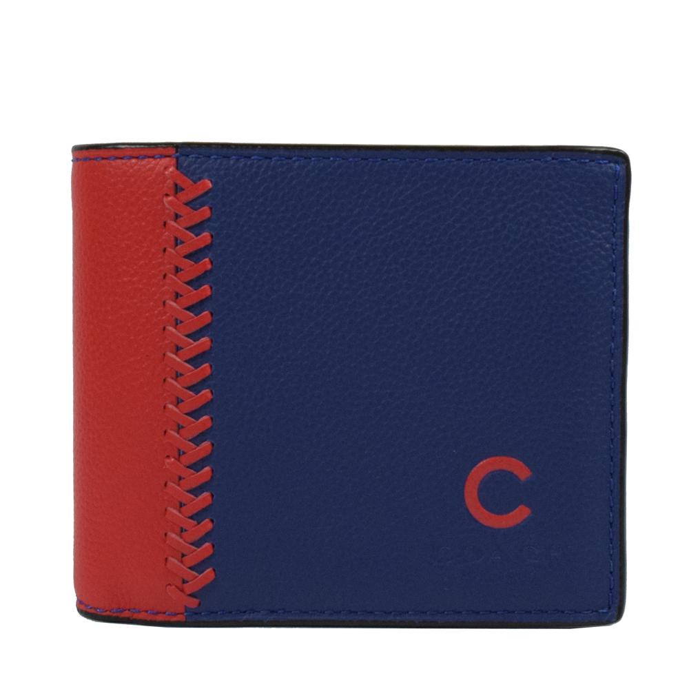 COACH  限量棒球圖案皮革編織附活動夾中短夾.深藍/紅