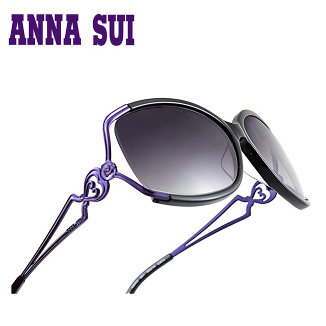 Anna Sui 日本安娜蘇優雅時尚金屬鏤空心型太陽眼鏡 紫色- AS852-001
