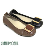 【GREEN PHOENIX】方型金屬異材質拼接束口帶全真皮平底方頭娃娃鞋