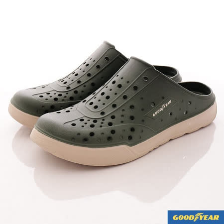 GOODYEAR戶外鞋-時尚洞洞懶人便鞋-(MS73805綠-男款-24~28cm)