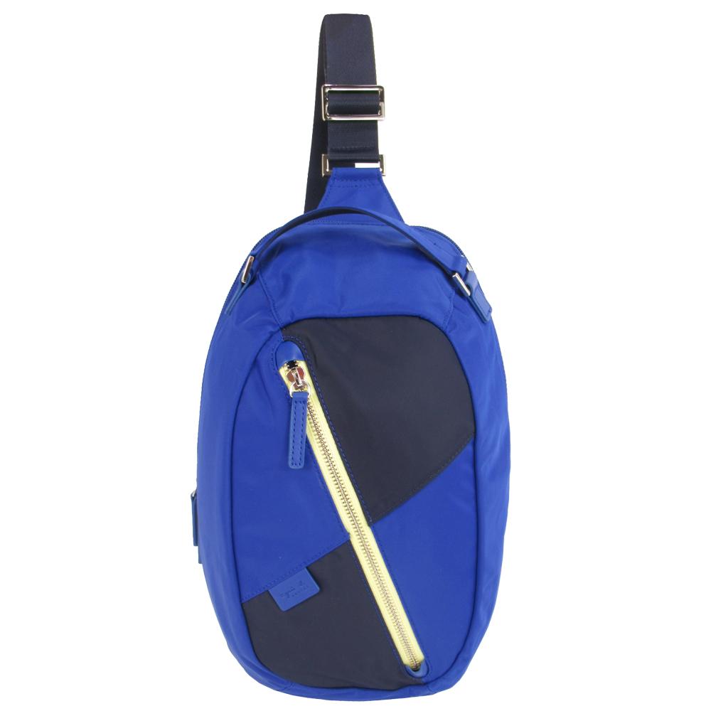 agnes b.極簡斜拉鍊單側後背包(藍)