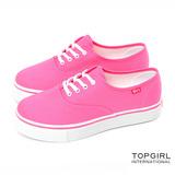 TOP GIRL-繽紛輕柔厚底帆布鞋-俏桃紅(品特)