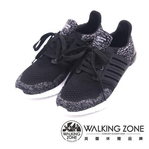 WALKING ZONE 針織透氣綁帶運動鞋 男鞋-黑(另有藍)